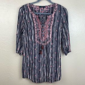 THML Anthropologie Embroidered Striped Tunic Small